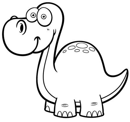petrifying: Vector illustration of Dinosaur - Coloring book Illustration