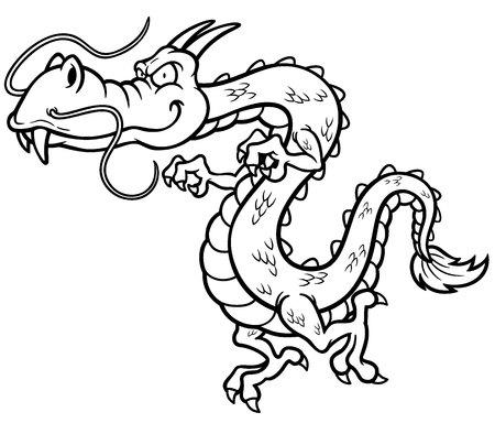 startled: Vector illustration of Cartoon dragon - Coloring book