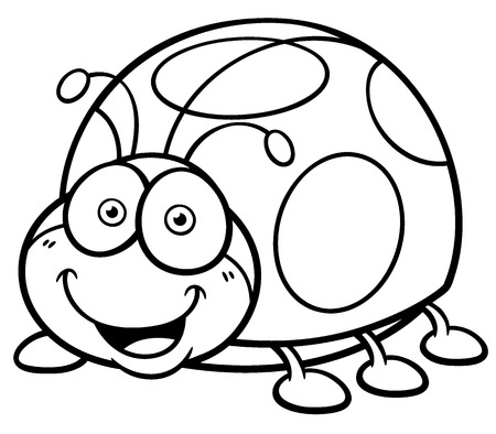 Vector illustration of cartoon Lady bug - Coloring book