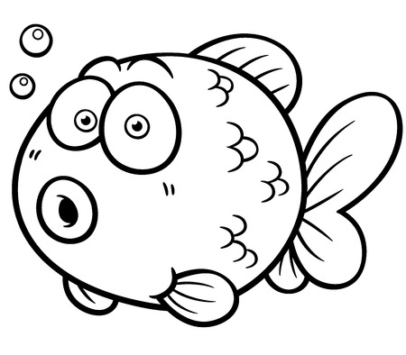 Vector illustration of Goldfish - Coloring book
