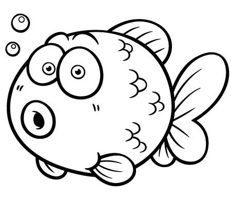 gold fish bowl: Vector illustration of Goldfish - Coloring book