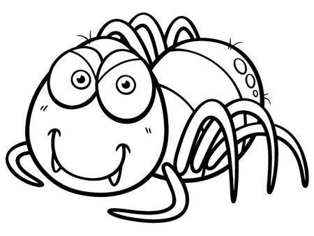 Vector illustration of Spider cartoon - Coloring book