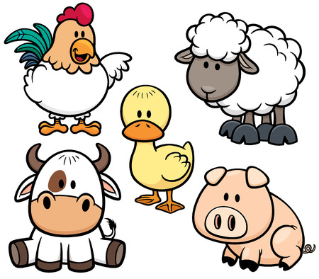 Vector Illustration of Cartoon Animals farm set
