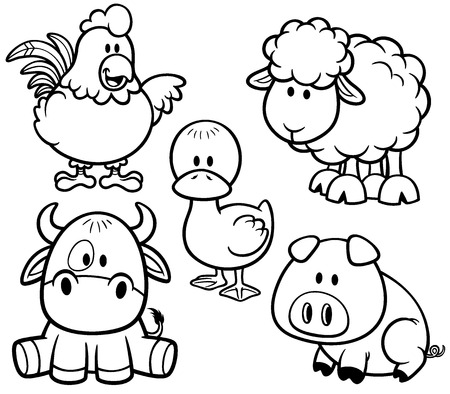 Vector Illustration of Cartoon Animals farm set - Coloring book Vector