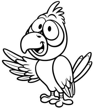 loros verdes: Ilustración del vector del loro de la historieta - Libro de colorante