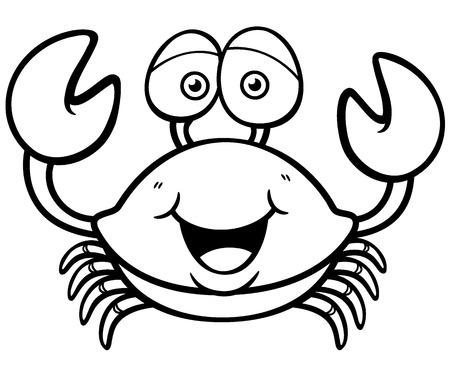 cangrejo: Ilustración vectorial de dibujos animados cangrejo - Coloring book