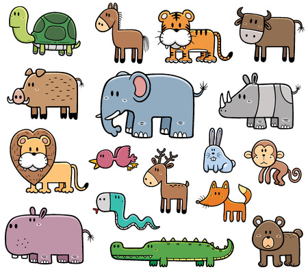 Vector Illustration of Cartoon Wild Animals set Vector