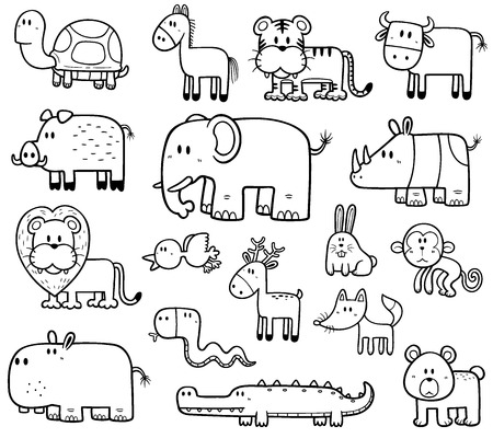 Vector Illustration of Cartoon Wild Animals set - Coloring book