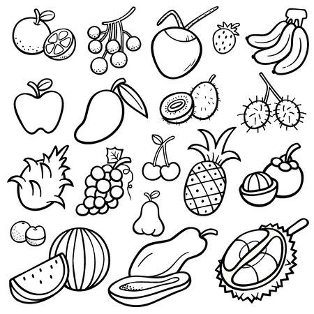 Vector Illustration of Fruits set - Coloring book Vector