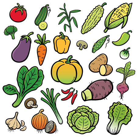Vector Illustration of Cartoon vegetable set Vector