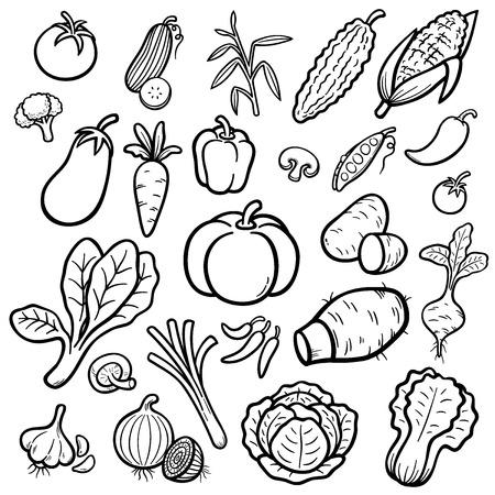 Ilustración Vectorial De Conjunto De Verduras De Dibujos Animados ...