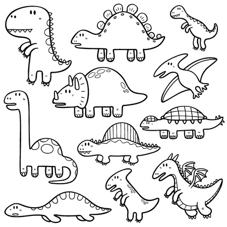 tyrannosaur: Vector illustration of Dinosaurs cartoon characters - Coloring book Illustration