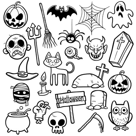 Vector Illustration of Halloween set - Coloring book Vector