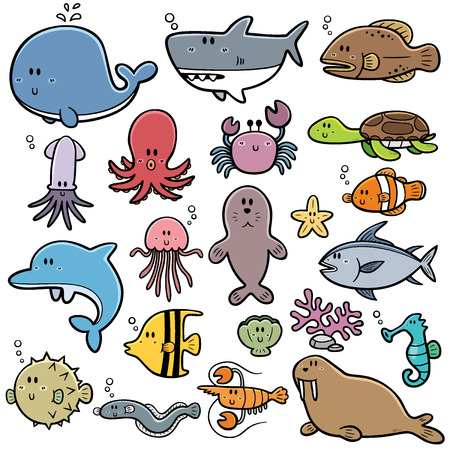 Vector animals: Vector Illustration của động vật biển Cartoon Hình minh hoạ