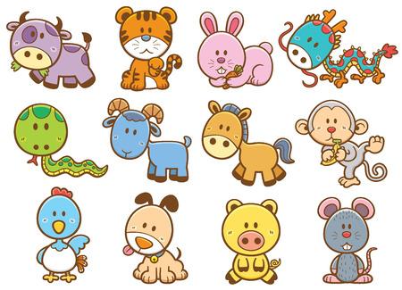 raton caricatura: Ilustración vectorial de zodiaco chino de dibujos animados de animales
