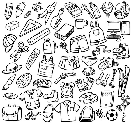 rubber glove: Vector Illustration of Different objects - Coloring book