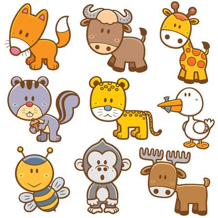 animales salvajes: Ilustraci�n vectorial de dibujos animados de animales Vectores