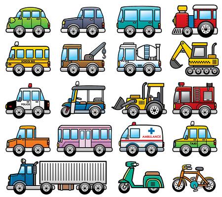 Ilustración del vector del conjunto de coches de dibujos animados Vectores
