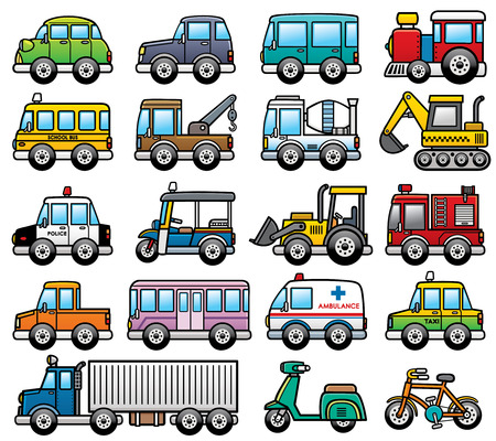 Vector Illustration of cartoon Car set Çizim