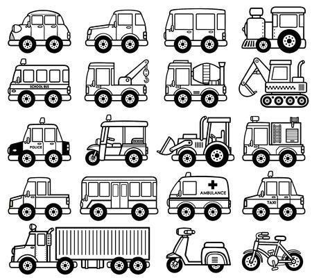 camion caricatura: Ilustración del conjunto de dibujos animados de coches - Libro para colorear