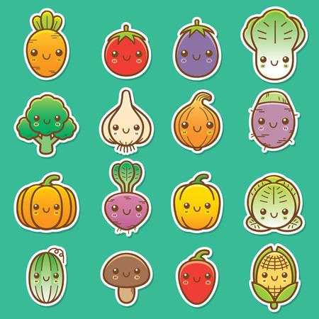 Vector Illustration of Cartoon vegetable set
