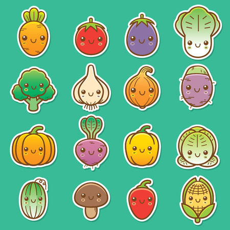taro: Vector Illustration of Cartoon vegetable set