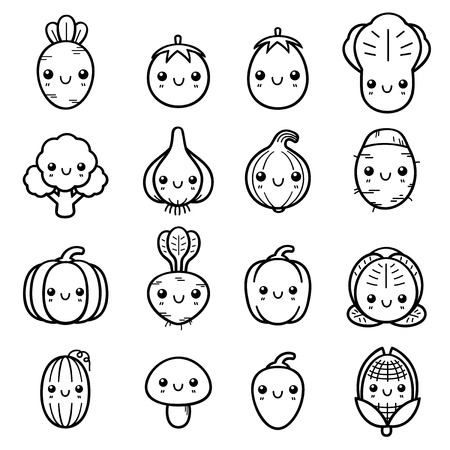 taro: Illustration of Cartoon vegetable set - Coloring book Illustration