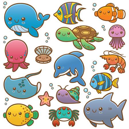 Ilustración vectorial de los animales de mar de dibujos animados