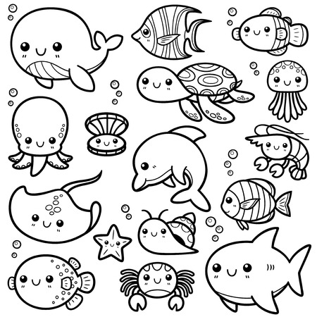 sea animals: Vector Illustration of Sea animals Cartoon - Coloring book