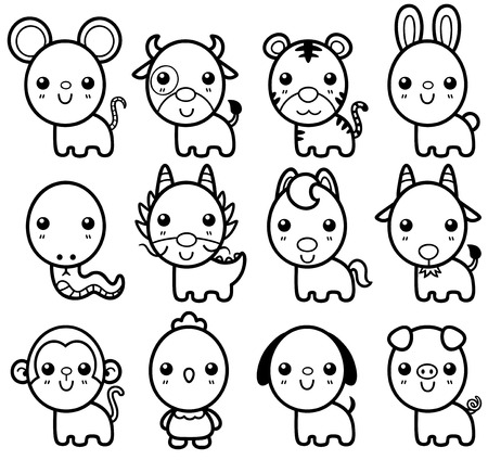 auspicious: Vector illustration of Chinese Zodiac animal cartoon - Coloring book