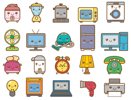 Vector Illustration of Home appliances and electronics Vector