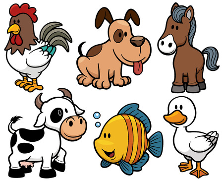 Vector illustration of Animals cartoon Vettoriali