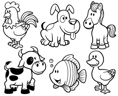 Vector Illustration Of Cartoon Animals Farm Set - Coloring Book ...