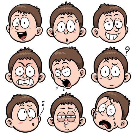 Ilustración vectorial de conjunto de la cara del muchacho