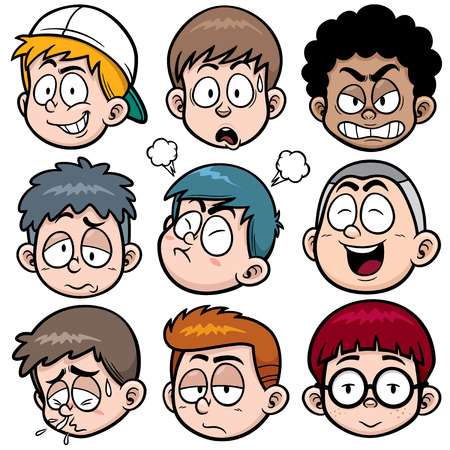 sad cartoon: Vector illustration of Boy face set
