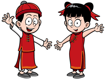 wu: Vector Illustration of Chinese Kids Illustration
