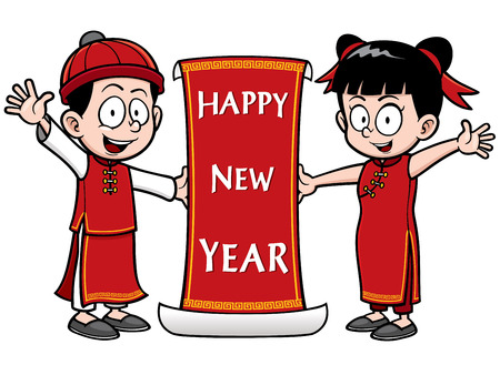 Vector Illustration of Chinese Kids with Happy New Year sign Vector