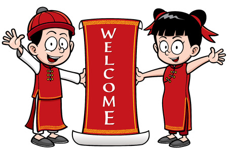Vector Illustration of Chinese Kids with Welcome sign Illustration