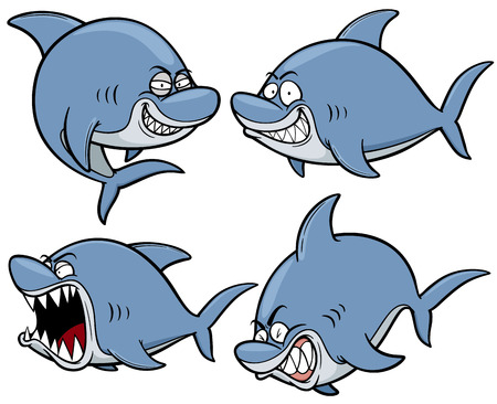 tiburon caricatura: Ilustraci�n vectorial de dibujos animados Shark