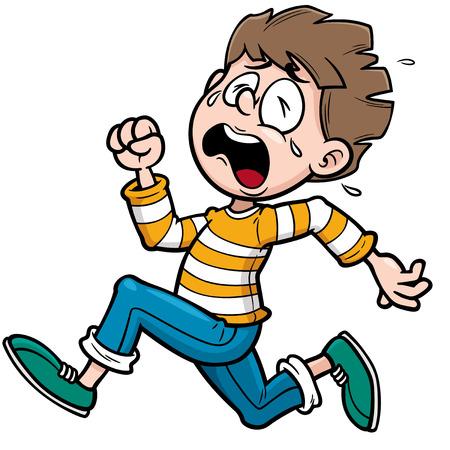 niño llorando: Ilustración del muchacho corriendo