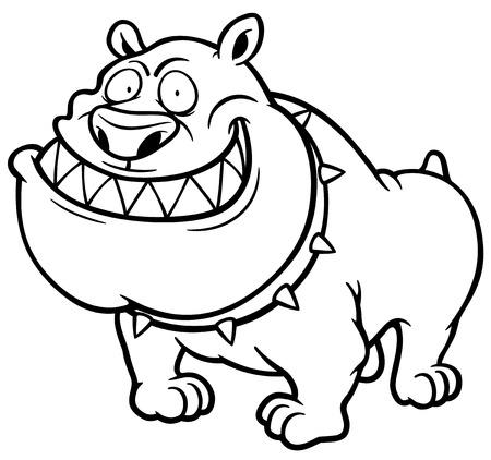 perro furioso: ilustraci�n de Angry Dog - Libro para colorear Vectores
