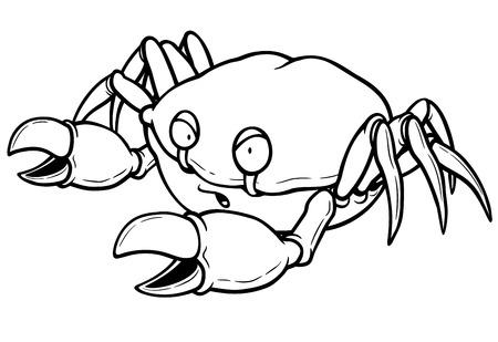 pincers: Vector illustration of Cartoon crab - Coloring book Illustration