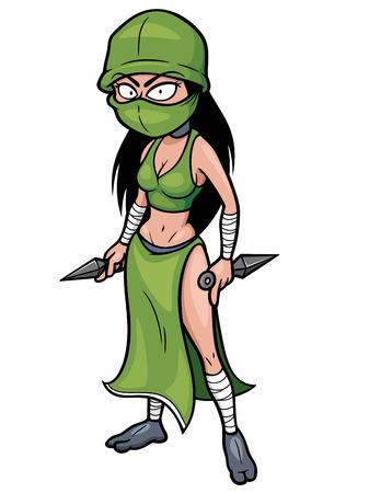 cartoon warrior: Vector illustration of Cartoon Ninja