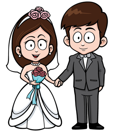 Vector Illustration of Cartoon Wedding couple with floral bouquet