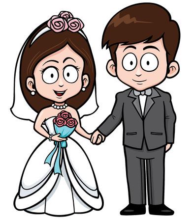 Vector illustratie van Cartoon Bruidspaar met boeket bloemen Stockfoto - 35797365