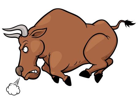 toro arrabbiato: Illustrazione vettoriale di cartone animato toro Angry
