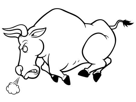 bullfighting: Vector illustration of cartoon Angry bull - Coloring book