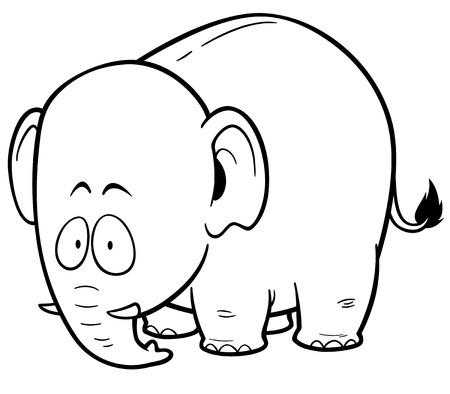 vector illustration of cartoon elephant coloring book vector - Elephant Coloring Book