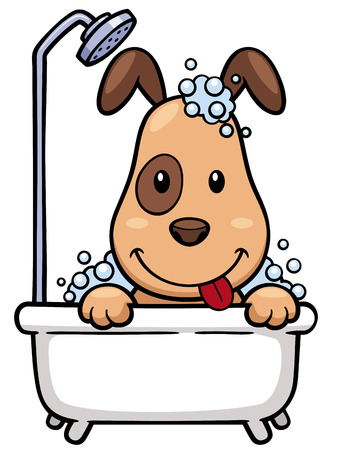 obedient: Vector illustration of Cartoon Dog Bathing