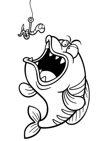 skeptic: Vector illustration of fish with Fishing Hook - Coloring book